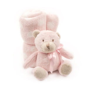 Pink Bear Plush Blanket