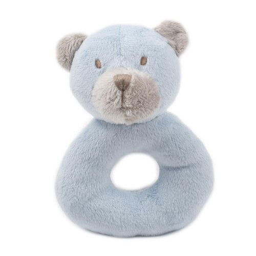 Blue bear plush rattle