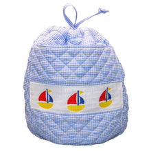 Load image into Gallery viewer, Blue Sailboat Smocked Ditty Bag