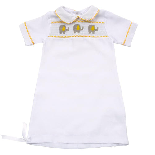 Yellow Elephant Smocked Day Gown 0-6 Months