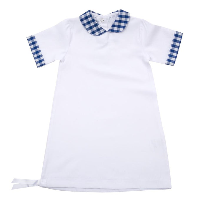White baby gown with collar and sleeve details in blue gingham