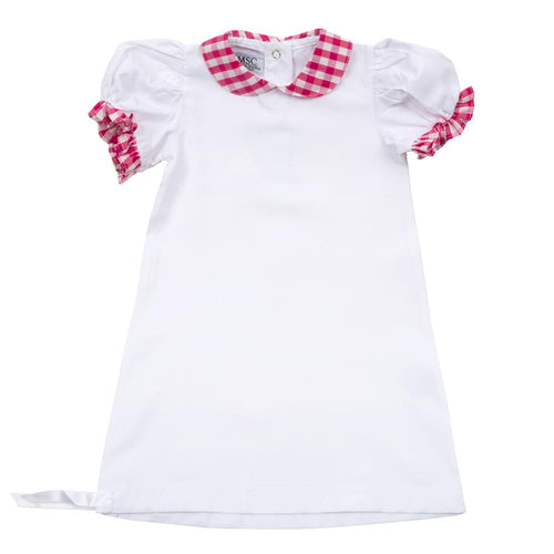 Pink Gingham Summer Baby Gown