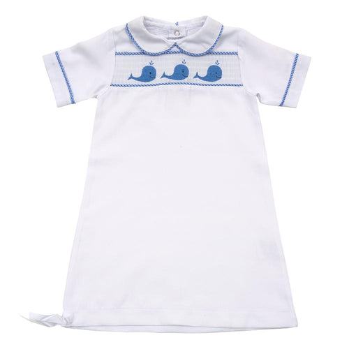 Blue Whale Smocked Day Gown 0-6 Months