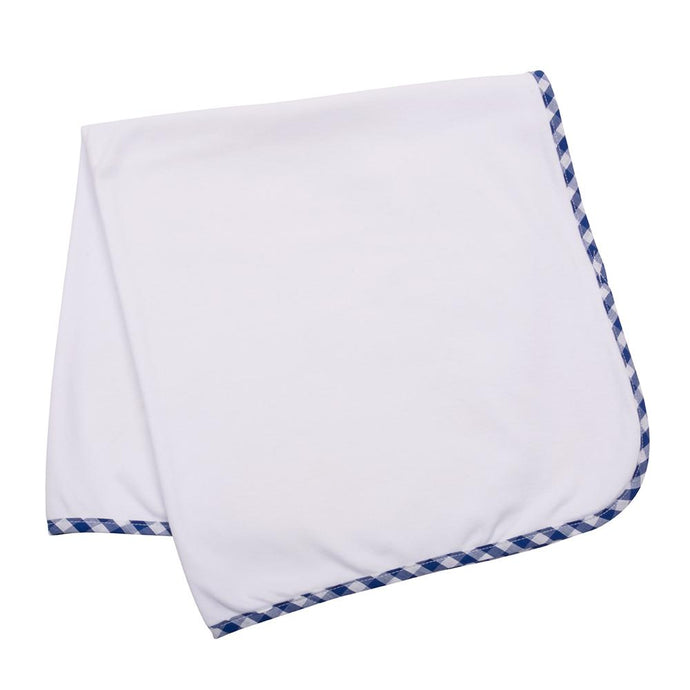 White baby blanket with blue gingham trim