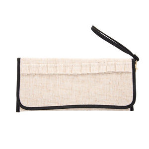 Front view of our Black Linen Trifold Clutch