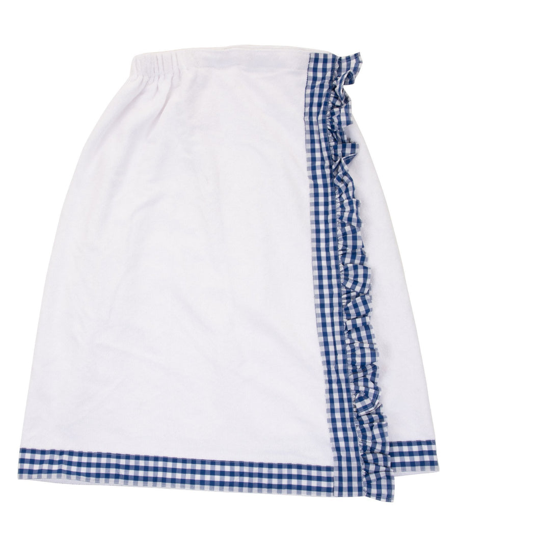 View of our Blue Gingham Bath Wrap