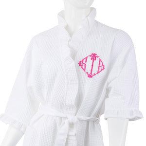 Bridal waffle weave robe monogrammed with bamboo diamond font