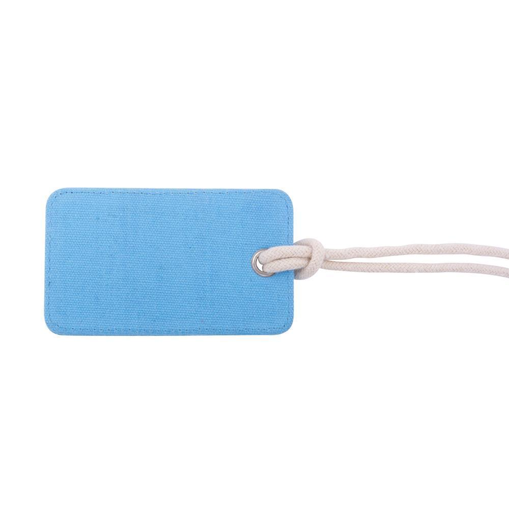back side of light blue luggage tag