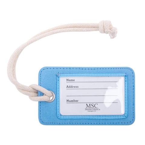 front side of light blue luggage tag