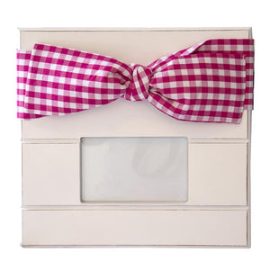 Pink Gingham bow frame with landscape photo window