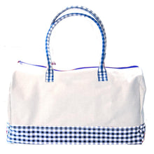 Load image into Gallery viewer, Blue Gingham Getaway Duffle Bag