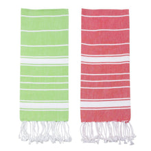 Load image into Gallery viewer, Holiday Fringe Stripe Dish Towel