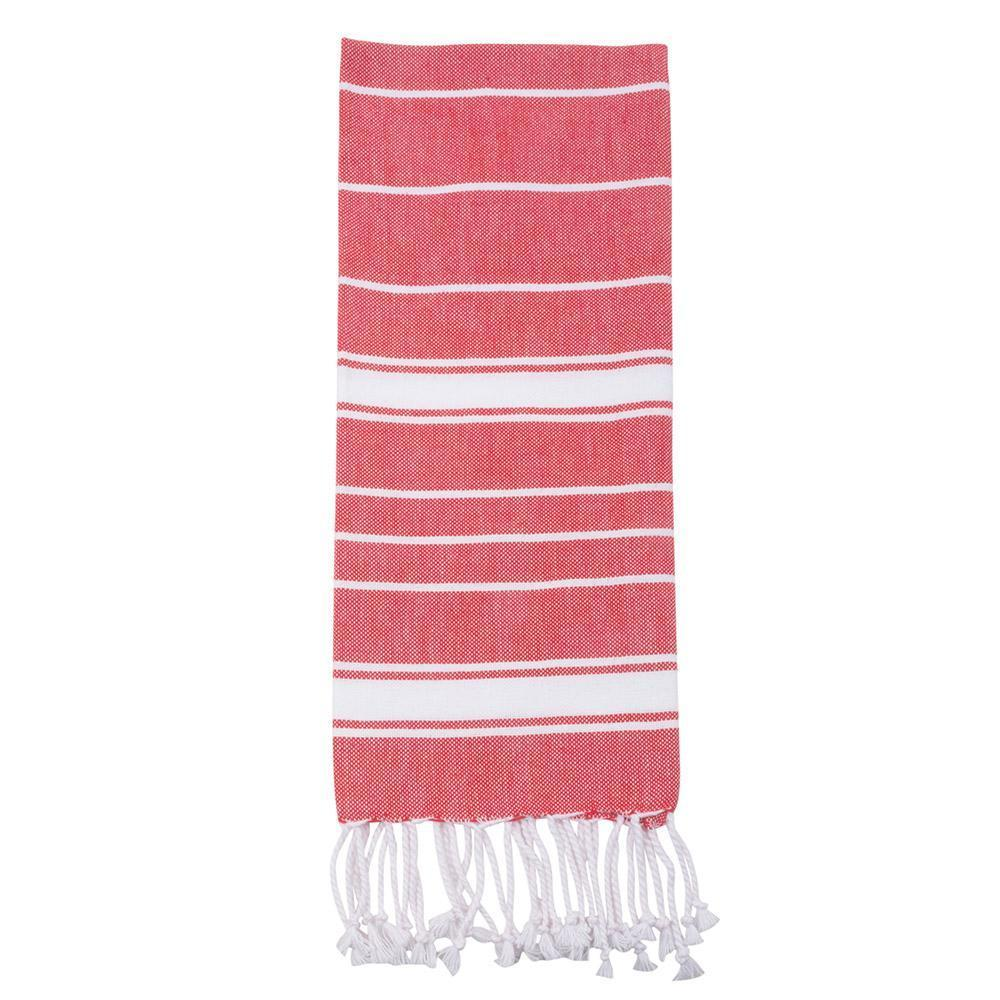 Red Holiday Fringe Stripe Dish Towel