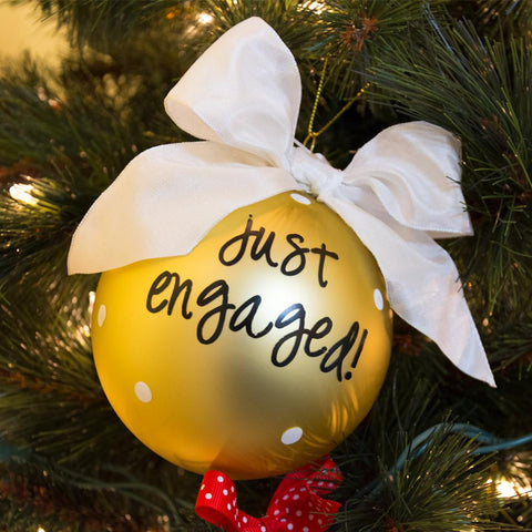 Just engaged ornament hanged on a Christmas tree