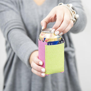 Lifestyle view of our Pink Lizard Pocket Koozie