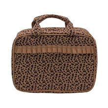 Load image into Gallery viewer, Leopardista Carolina Cosmetic Bag with Tan Trim