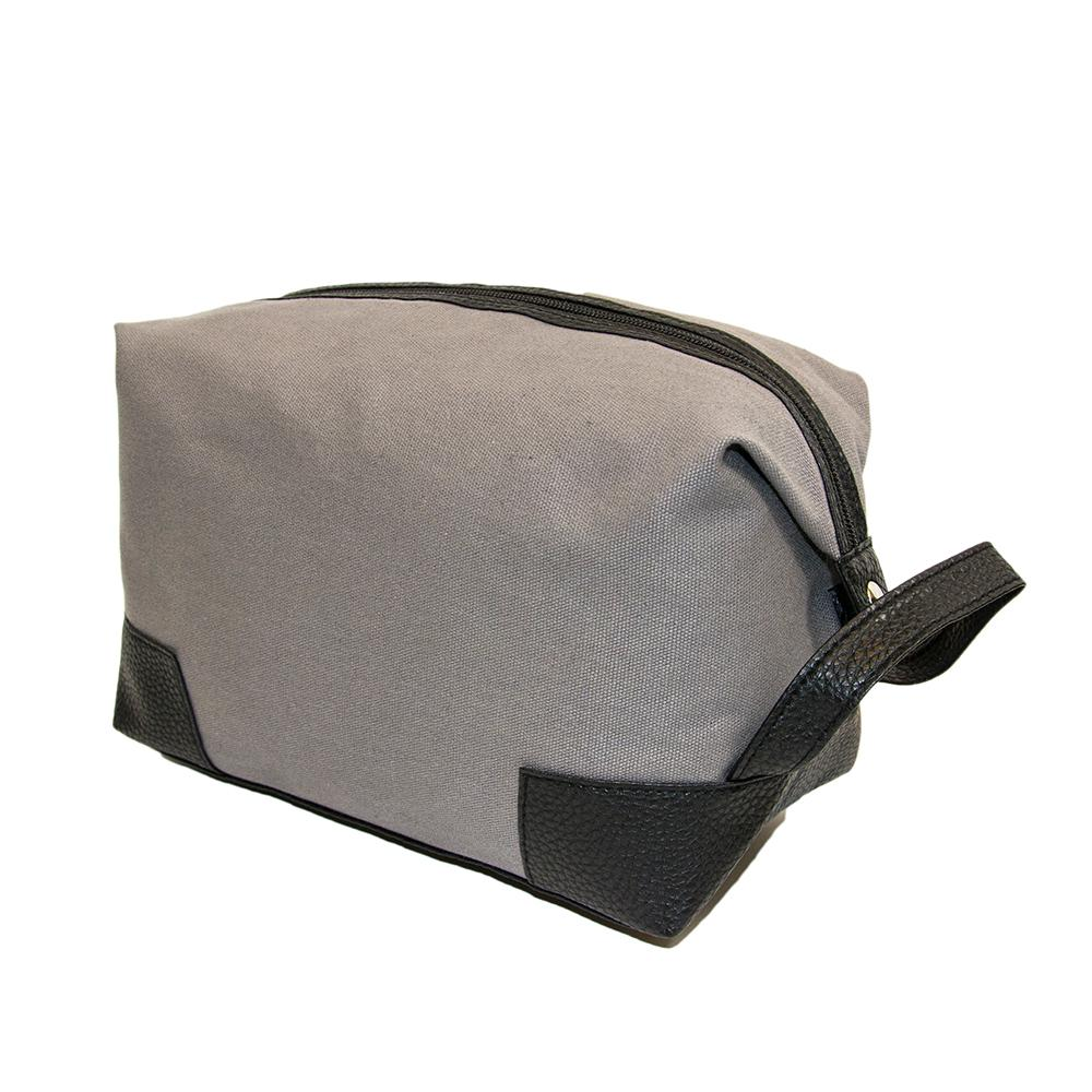 Gray canvas dopp kit