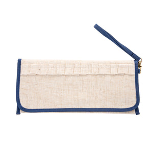 Front view of our Navy Linen Trifold Clutch