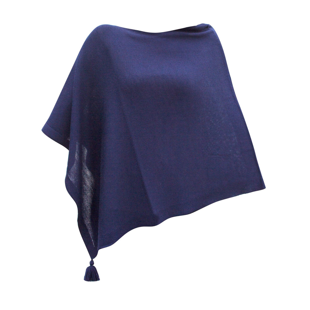Front view of our Navy Tassel Poncho