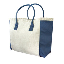 Load image into Gallery viewer, Navy Linen Weekender Tote