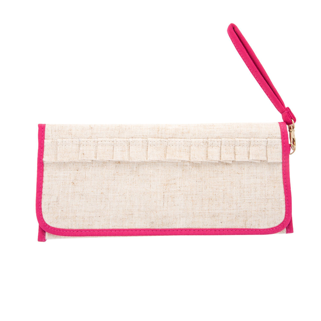 Front view of our Pink Linen Trifold Clutch