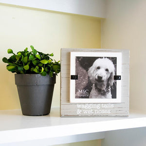 "Lifestyle view of our ""Wagging Tails & Wet Noses"" Block Frame"
