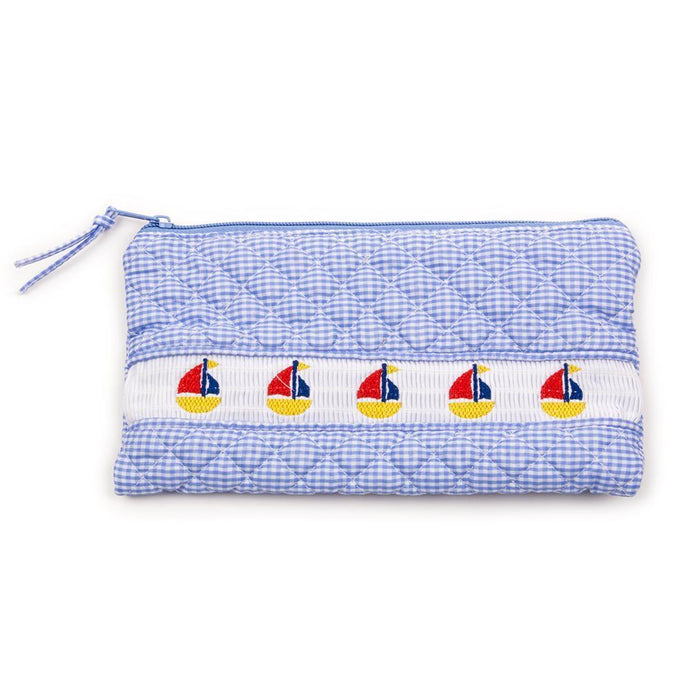 Blue Sailboat Smocked Accessory Pouch