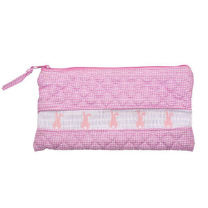 Pink Bunny Smocked Accessory Pouch
