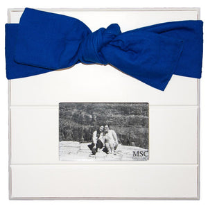 White picture frame with navy canvas bow