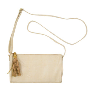 Front view of our Tan Bamboo Classy Crossbody