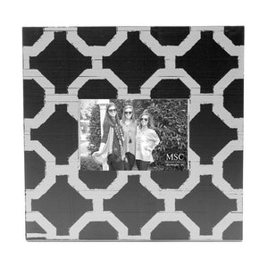 Front view of our Black and White Trellis Picture Frame