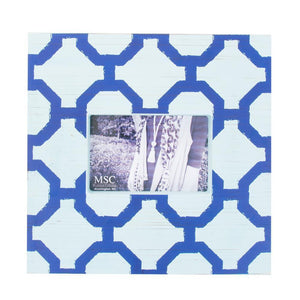 Front view of our Light Blue and Navy Trellis Picture Frame