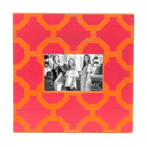 Front view of our Pink and Orange Trellis Picture Frame