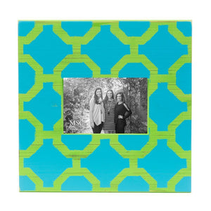 Front view of our Turquoise and Lime Trellis Picture Frame