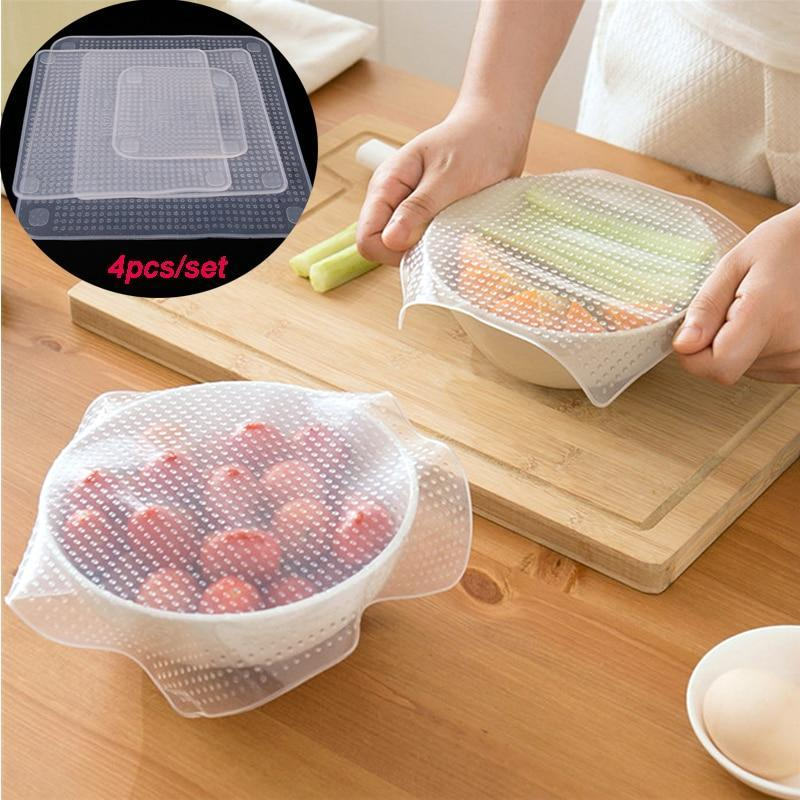 4 Pcs Reusable Food Fresh Silicone Stretch Lids