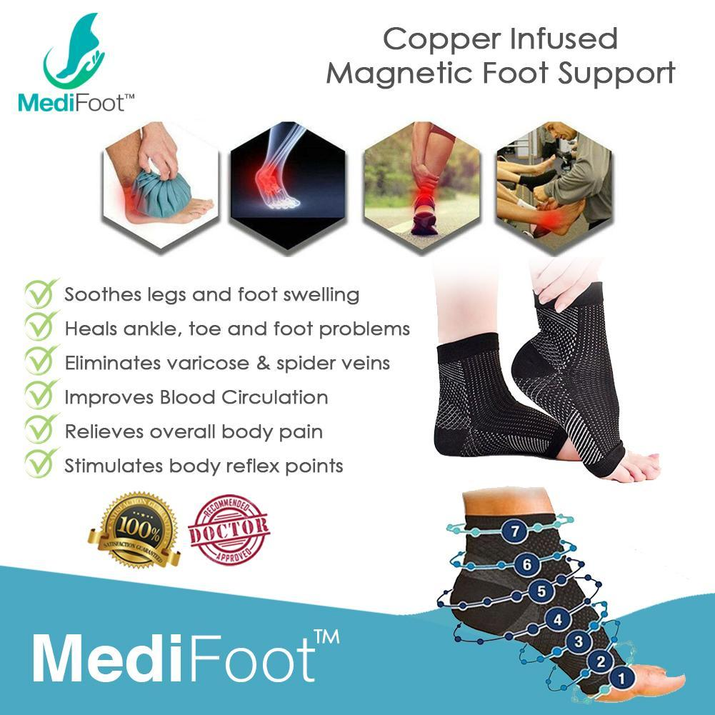 MEDIFOOT™ Copper Infused Magnetic Foot Support Compression