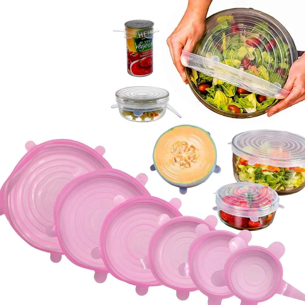 Reusable Silicone Food Packaging Lids (Set of 6)
