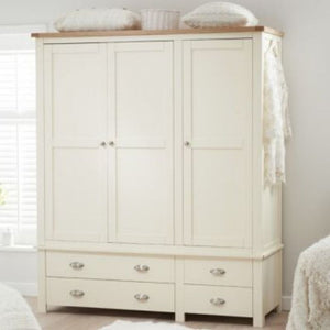Sandringham Oak And Cream Triple Wardrobe - The Home Collections