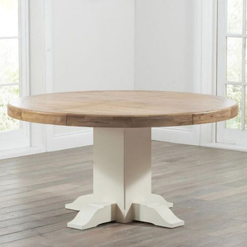Turin 150cm Oak & Cream Round Dining Table - The Home Collections