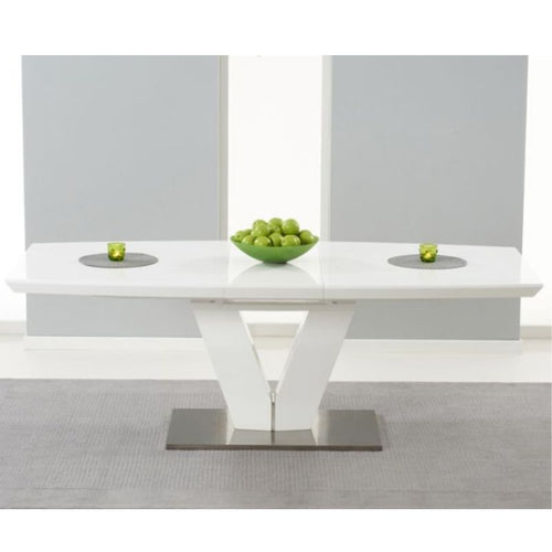 Malibu 180cm Extending White High Gloss Dining Table - The Home Collections