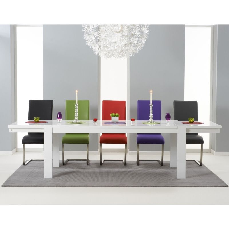 Venice White High Gloss Extending Dining Table - The Home Collections