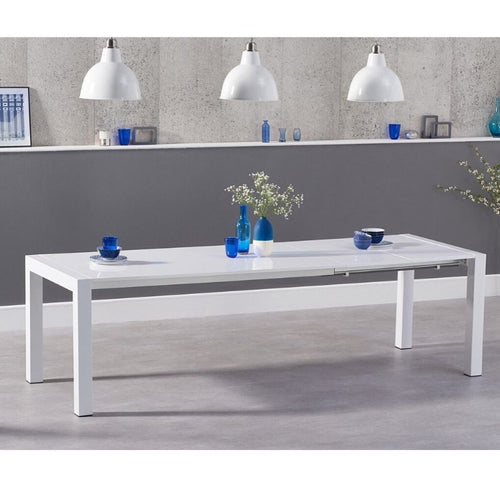 Jamie Extending White High Gloss Dining Table - The Home Collections