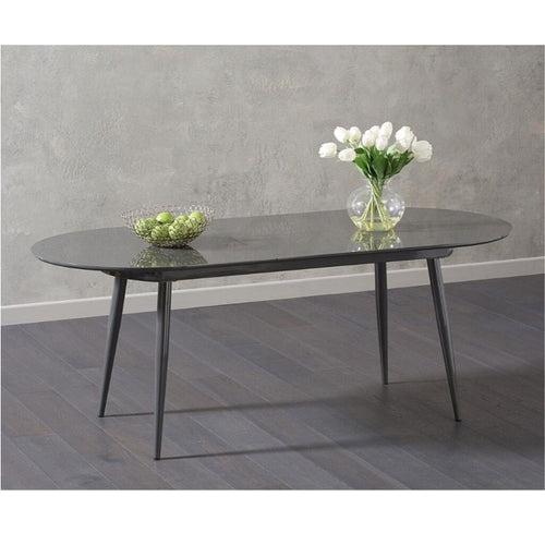 Opel Extending Grey High Gloss Dining Table - The Home Collections