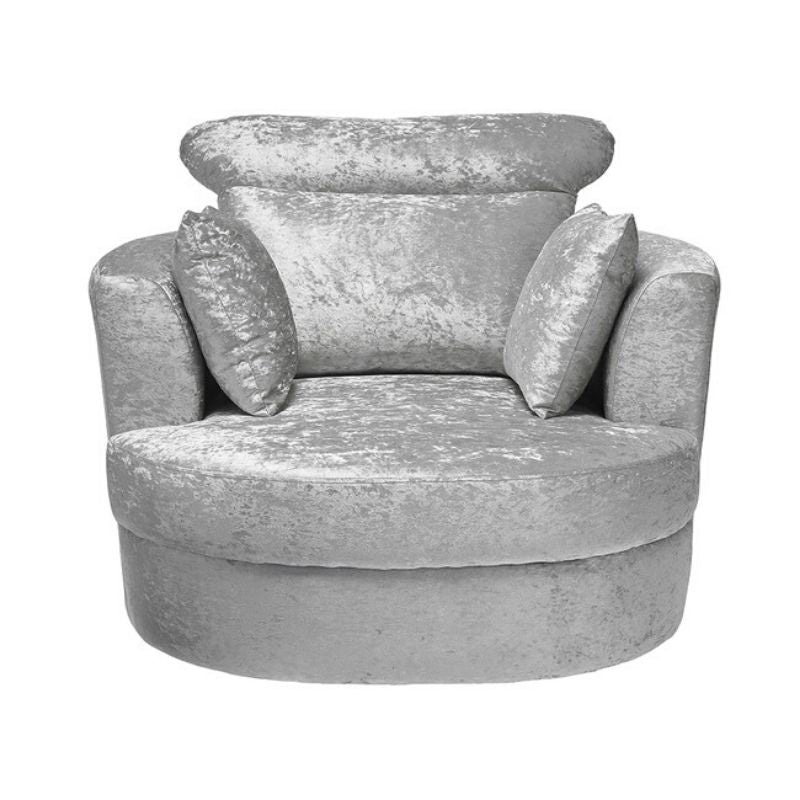 Bliss Large Swivel 2 Seater in Grey with scattered cushions - The Home Collections