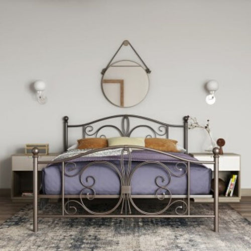 Bombay Metal Bed White Double UK - The Home Collections