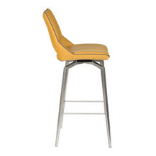 Load image into Gallery viewer, Mako Swivel Leather Effect Yellow Bar Chair - The Home Collections