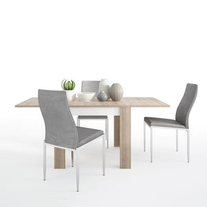 Lyon Small extending dining table + 4 Milan High Back Chair Grey - The Home Collections