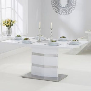 Springfield High Gloss 160cm White Dining Table - The Home Collections