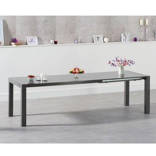 Jamie Extending Dark Grey High Gloss Dining Table - The Home Collections