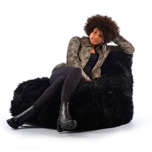 Mighty B Bean Bag Black 100% Fur - The Home Collections